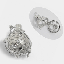 10pcs 30mm*19mm Hollow Cage Filigree Ball Box Diffuser Necklace Locket Pendants For DIY Perfume Essential Oil Jewelry Findings