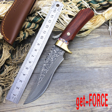 get-FORCE Damascus Steel M2 Tactical Fixed Blade Knife,Collection Damascus Hunting Knife,Straight Knives,Camping Knives Tools