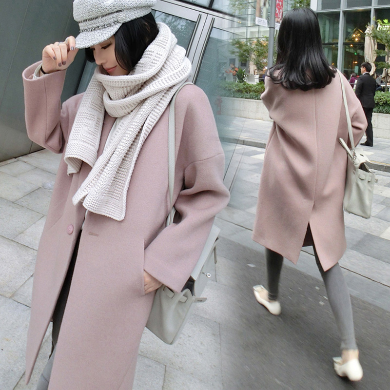 New Fashion Women Warm Wool Blends Long Sleeve Coats Office Lady Elegant Thickening Pink Formal Woolen Coat jn258