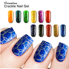 Verntion Art Crackle Polish Gel UV LED Light Manicure Collection Color Trendy Style Nail Royal Blue Gel Varnish Nail Art(China)
