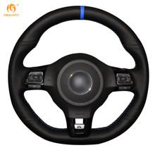 Mewant Black Genuine Leather Car Steering Wheel Cover for Volkswagen Golf 6 GTI MK6 VW Polo GTI Scirocco R Passat CC R-Line 2010