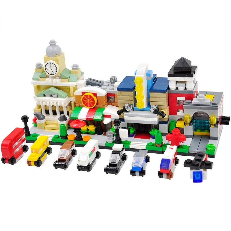 Feleph Mini Street City 3D Movie Theaters Pizza Shop Fire Station Mini Classic Educational Building Blocks for Children