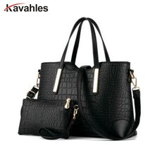2017 women handbag leather hand bag michael crocodile crossbody bag shoulder messenger bags clutch tote+purse 2 sets sac F40-777