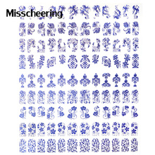3D Blue Nail Art Stickers Decals,108pcs/sheet Flower Design Metallic Unique Stylish Hot Stamping DIY Beauty Nail Tips Decoration