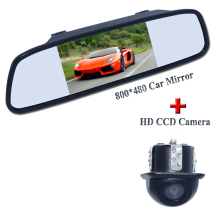 "Promotion For 2 in 1 HD CCD car rear view parking camera  + 5"" HD 800*480 Car Mirror Monitor rear monitor"