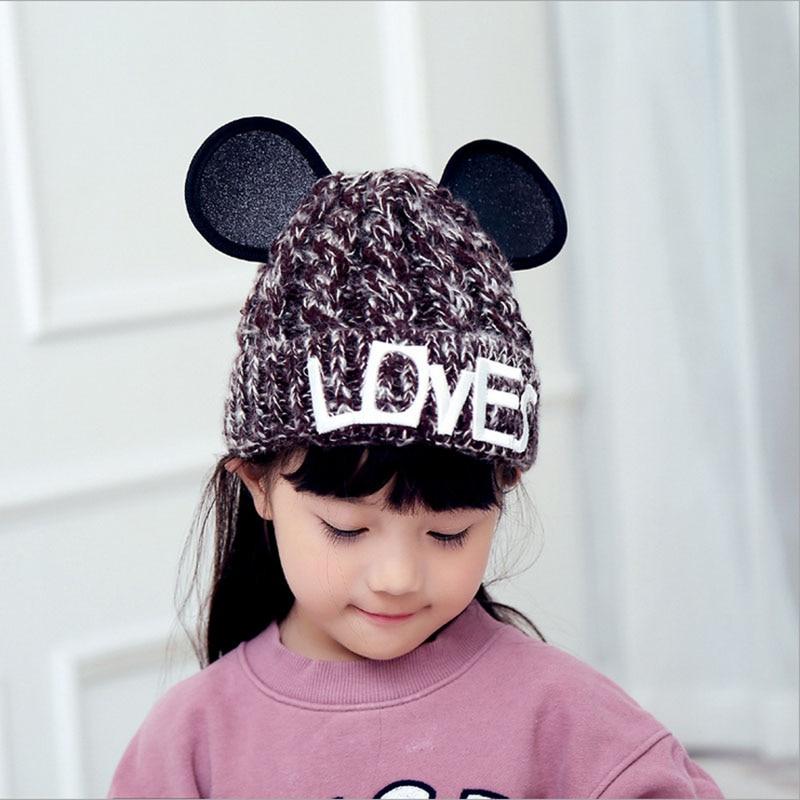 2016 New Double Ball Knitted Hats Girl Crochet Beanie Babies Hairball Ear Lovely Cartoon Children Wool Beanie CapsÎäåæäà è àêñåññóàðû<br><br><br>Aliexpress