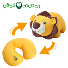 Bebecocoon Convertible Animal Ushaped Neck Pillow Kawaii Lion Stuffed Plush Toy Decorative Pillows Multifunctional Travel Pillow(China)