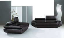Free Shipping 2013 Modern Design High Black Top Grain Cattle Leather sofa set  adjusted headrest  Classic 123 Sofa with Chairs