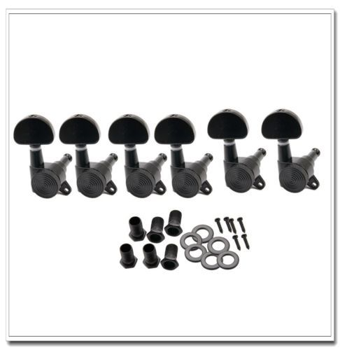 6R Guitar Tuners Tuning Pegs Machine Heads Locking Black<br>