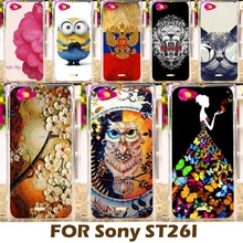 DIY Painting design Hard Plastic Case For Sony Xperia J ST26i 4.0 inch Cell Phone Cover Protective Sleeve Funda carcasa Para