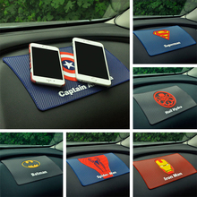 For car mat magic anti non-slip mat support mobile Captain American superhero man Dashboard under the car phone holder pad Large(China)