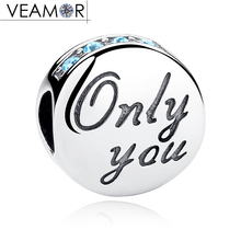VEAMOR Genuine 925 Sterling Silver Blue CZ Only You Letters Charms Beads Fit Pandora Bracelets Bangles DIY Jewelry Making(China)
