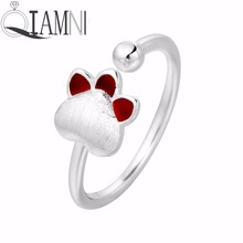 QIAMNI 925 Sterling Silver Lovely Cat Paw Animal Footprint Open Adjustable Finger Ring for Women Girls Pet Lover Gift Jewelry