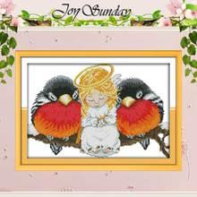 Ангел и Товары для птиц Счетный крест ручной 11ct 14ct вышивки крестом мультфильм хлопок вышивка крестом Наборы Вышивка для рукоделия(China)