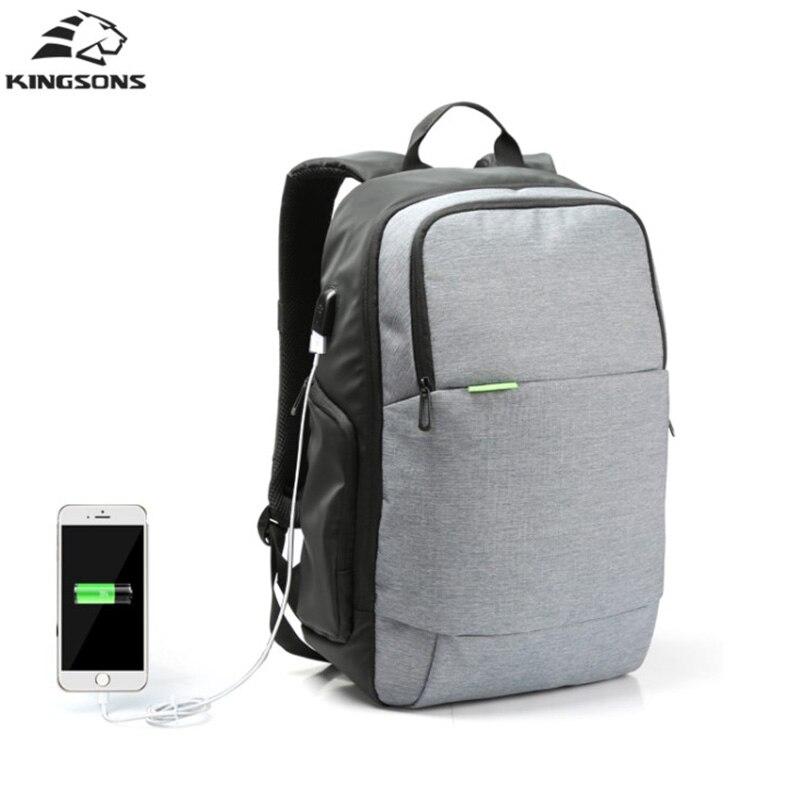 Kingsons Brand 15.6 inch External USB Charge Laptop Backpack Bag Anti theft Notebook Computer Bag Men Male School Backpack<br>