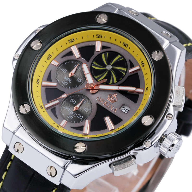 ORKINA Men Sports Fashion Watches Black Genuine Leather Strap Passion Yellow Design Chronograph Multifunction Sub-dial with Date<br>