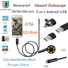 Fimei Mini 8MM Lens Android USB Endoscope 6 LEDs Waterproof Mini Camera Android OTG Borescope Endoscope For Android PC 2m/5m/10m(China)