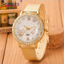 Relogios Femininos Women Ladies Crystal Butterfly Gold Stainless Steel Mesh Band Wrist Watch High Quality J23