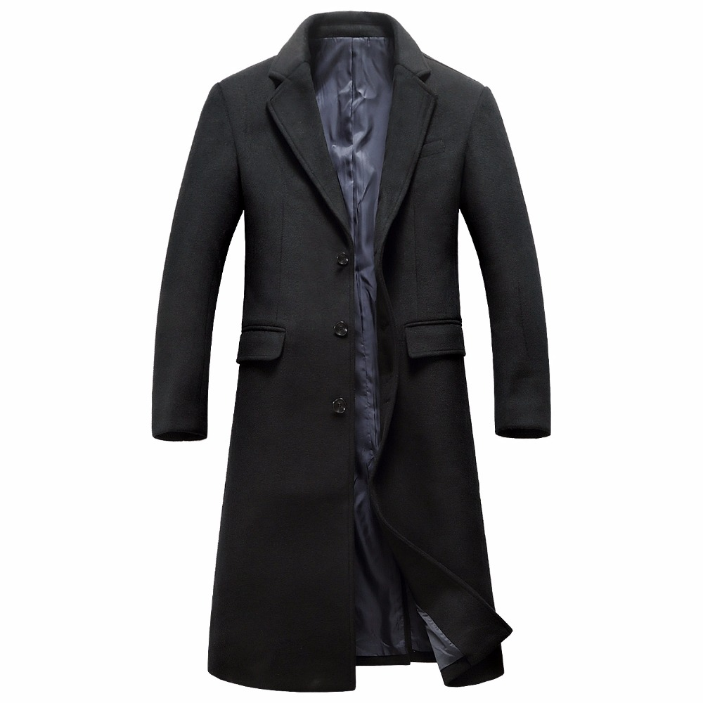 Shanghai Story Men's Wool Long Coat Winter Brand Fashion High Quality Wool Parka Coat For Men Overcoat Casaco Masculino
