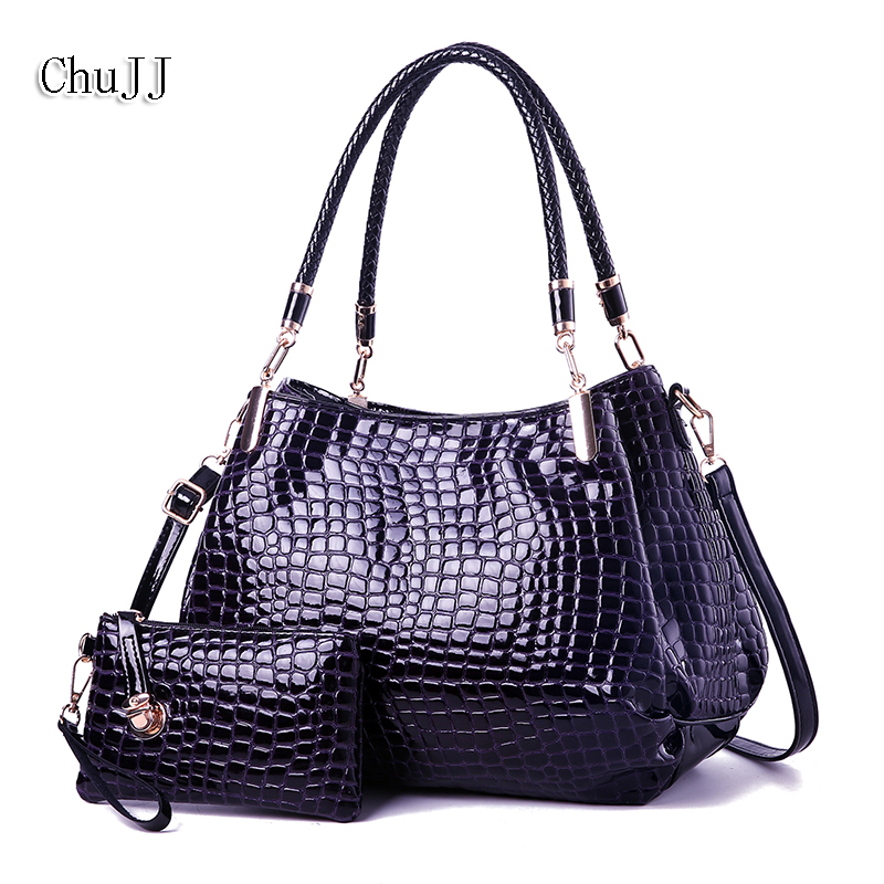 Chu JJ Fashion Alligator Womens Patent Leather Handbags With Wallet  Big Size Shoulder CrossBody Bags Women Bucket Bags<br>