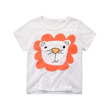 2017 summer new Korean children cartoon short sleeve T-shirt kids boy girls dolphin puppy giraffe lion cartoon pattern brand(China)