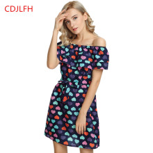 CDJLFH Summer Beach Dress Sexy Strapless Women Dresses Navy Blue Love peach Vestidos Ukraine de festa party Casual 2017(China)