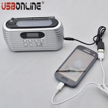 New portable AM/FM solar radio hand crank radio with 3 LEDs rechargeable flashlight emergency phone charger