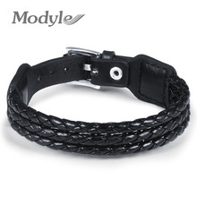 Buy Modyle Black Genuine Leather Bracelet Alloy Buckle Adjustable Fashion Women & Men Bracelets Jewelry for $2.52 in AliExpress store