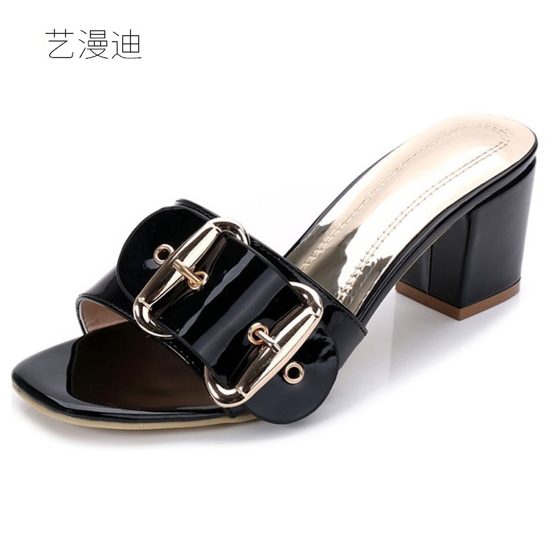 2018 Plus Small Size 31-43 Summer Style Black Sexy High Heels Slippers Sandals for Womens with Shoes Woman Wedding Dress Ladies<br>