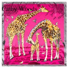 High Quality Cheap Imitated Silk Satin Scarve Beautiful All-Match Women Scarf Cartoon Giraffe Print Small Square Scarf  60x60cm