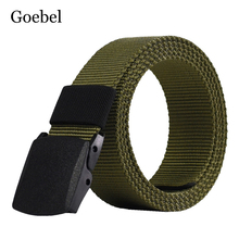 Goebel Canvas Belts Man Casual Practical Men Belts Solid Color Simple Male Plastic Buckle Belts(China)