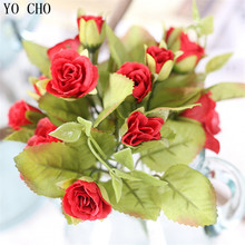 YO CHO 15 Head Of Mandarin Ducks Rose Artificial Silk Flower Drawing Room Dining Room Bedroom Office Party Wedding Decoration(China)