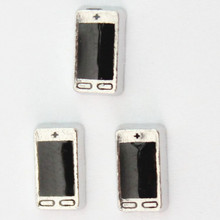 3mm-7mm Zinc Alloy Mobile Phone Shaped Living Glass Charms , 20 pcs/lot , Free Shipping(China)