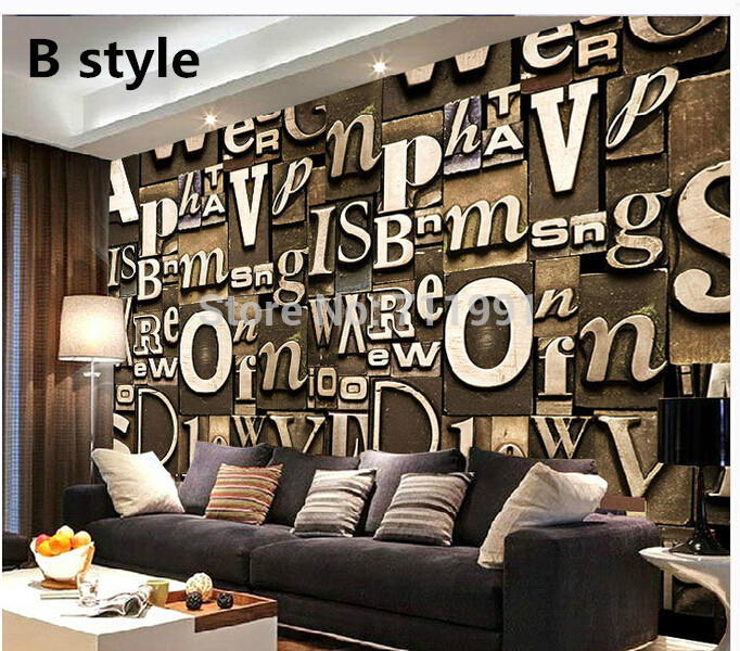Custom 3d stereoscopic wallpaper,art letters,retro wallpaper murals for living room bedroom TV wall waterproof wallpaper<br>
