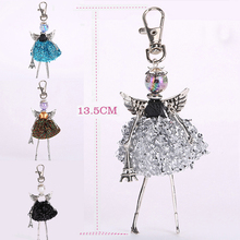 YLWHJJ new women doll bag keychain cute dress princess pendant angel wings Silver debris car key chains girls fashion jewelry