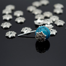 100pcsTibetan Style Silver Plated Flower Metal Bead Caps 7mm Filigree Jewelry Findings Connector Beads Cap Diy Jewelry Parts