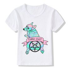 2017 Children Corgi Laser Dog Print Funny T-Shirts Kids Summer Tops Girls Boys Short Sleeve Tee Casual Punk Baby Clothes,HKP2285