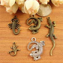 DIY jewelry accessories wholesale ancient bronze alloy pendant house lizard charms Scorpion, tibetan silver charm for bracelet(China)