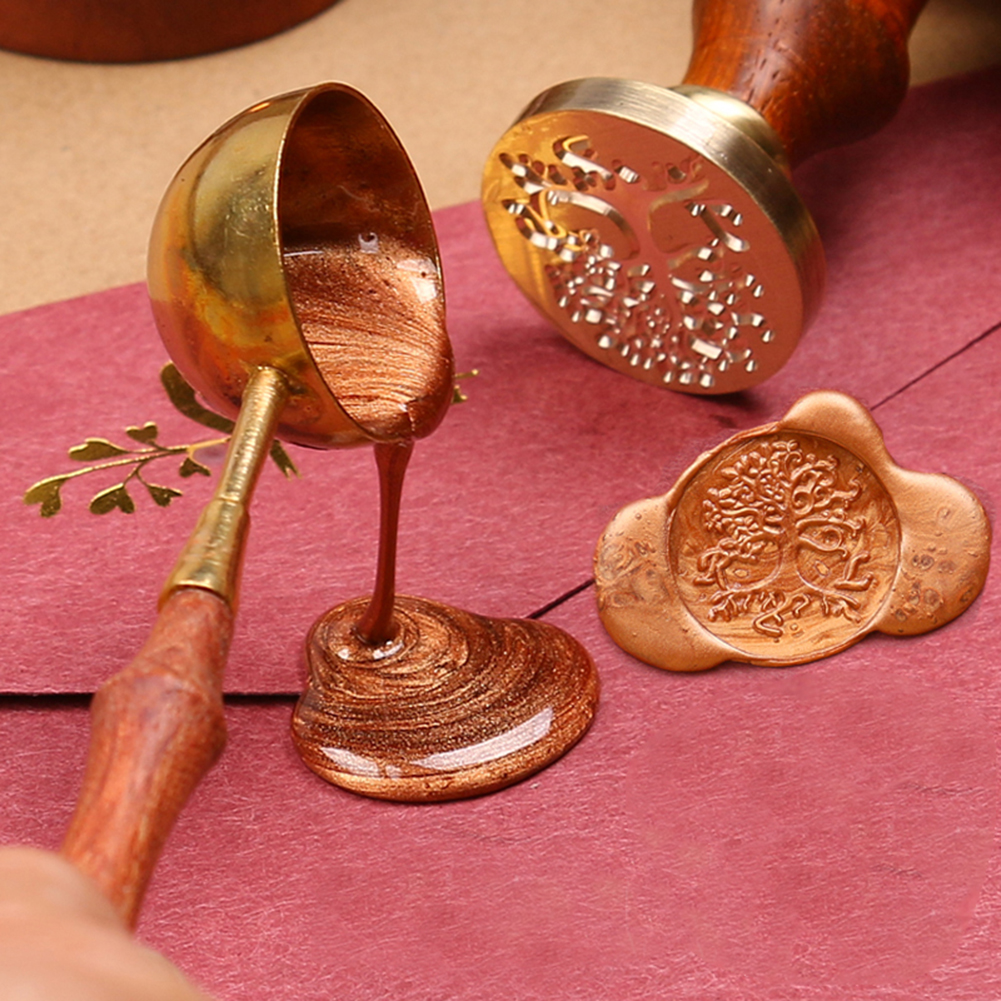 Useful Retro Brown Wax Spoon Anti-hot Stamp Sealing Vintage Wooden Handle Copper