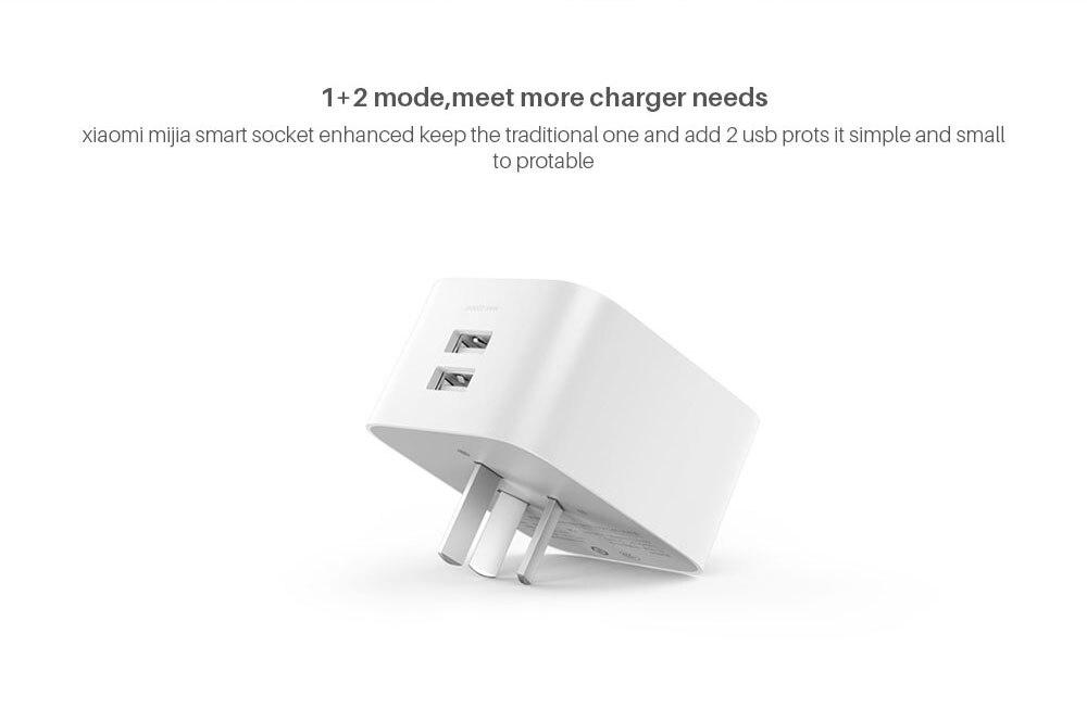 Xiaomi Mijia Smart wifi Socket Plug Enhanced Dual USB Fast Charger Timer Setting Electricity statistics Wireless APP Control (2)