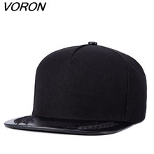 VORON 2017 New Baseball Caps Hip Hop Snapbacks Wheat Bones Aba Reta Black Mens Full Plain Hat Snap Back Gorras(China)