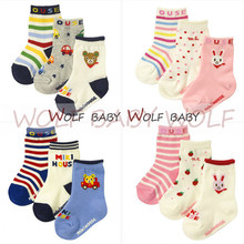Retail 3pairs/pack 1-4years socks cute patterns Kids infant Baby children Unisex Combed Cotton spring autumn fall winter