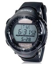 0405 Round Dial Digital Waterproof Diving Solar Sports Watch with Solar Movement, Plastic Case, Rubber Strap & Backlight (Black)(China)