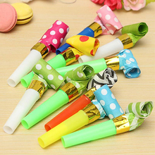 10PCS/1Pack Small Colorful Funny Whistles Kids Childrens Birthday Party Dots Blowing Blowout Baby Birthday Supplies Toys Gift