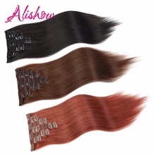 Alishow Hair Double Drawn Silky Straight Clip In Remy Hair Extensions 160g 8 Pcs/set 100% Human Hair in Clips UPS Free Shipping(China)