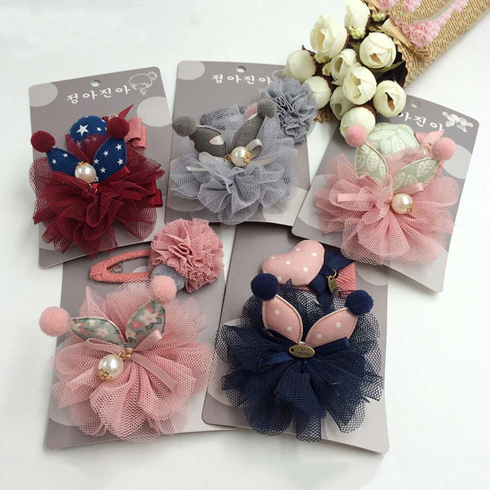 2 Pieces/Set Mix Style Girls' Hairclips Set Rabbit Ear Voile Bow Crystal Handmade Children's Fashionable Hair Accessories