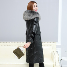 Leather suede women winter thick warm genuine sheepskin coat leather jacket natural fox fur hood long design New Phoenix 0929C(China)