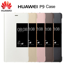 Original Huawei P9 PU Leather Fabric Phone Cover Smart Window View Flip Cases for Cellphone Huawei P9 Grey/White/Gold/Pink/Brown