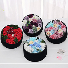 Diy rose flower gift box handmade soap flores for wedding home decorations accessories roses red artificial flowers flannel box(China)