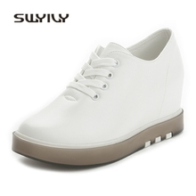 SWYIVY Sneakers Woman White Wedge Heel 2018 Spring Summer Platform Woman Casual Shoes Flat Bottom Increase Female Canvas Shoes(China)